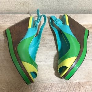Boden Wood Wedge Slingback Heels Block Coloring